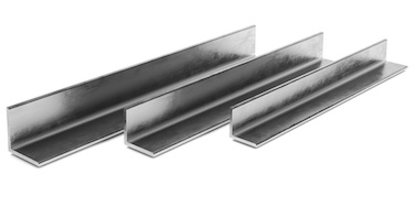 Three aluminum angles side by side