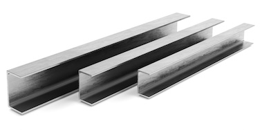 Three aluminum channels side by side