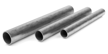 Three round aluminum tubes side by side