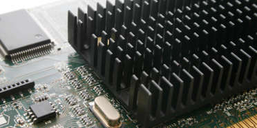 A computer video card with aluminum heatsink on top