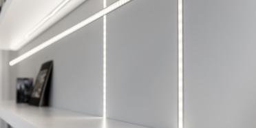 LED lighting running along strip light channels