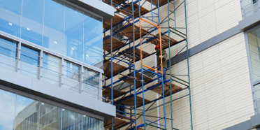 Scaffolding on the facade of a modern building