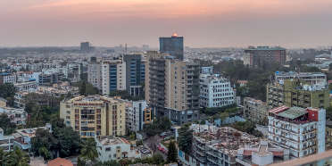 View of Bangalore city skyline at sunset
