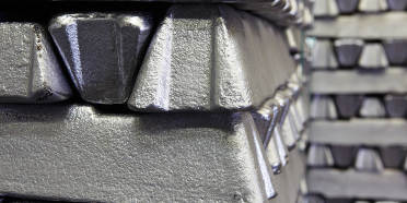 A stack of aluminum ingots to be sent to melting furnaces