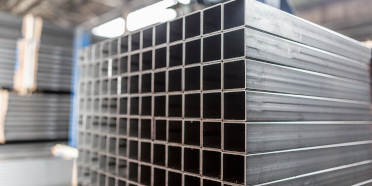 A stack of square aluminum extrusion profiles