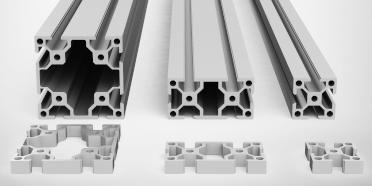 3D rendering of three T-slot aluminum profiles side by side