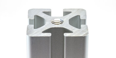 A T-slot aluminum extrusion with the profile side facing up