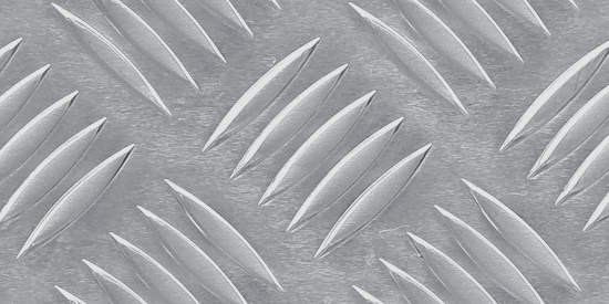 Patterned aluminum sheet with five bar pattern