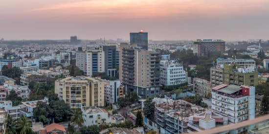 City skyline in Bangalore, India at sunset