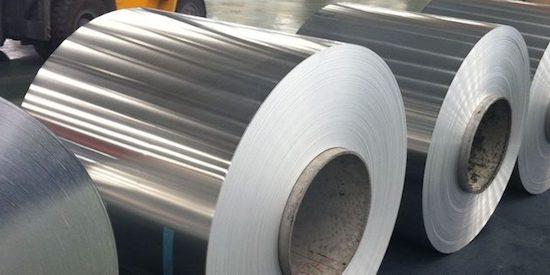 Bare aluminum foil in the factory