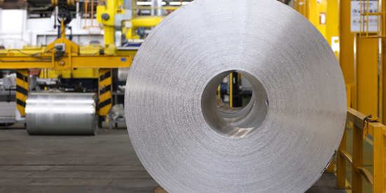 Coiled aluminum in factory