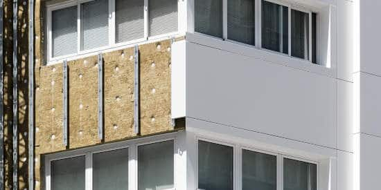 Composite aluminum panels on the exterior of a building