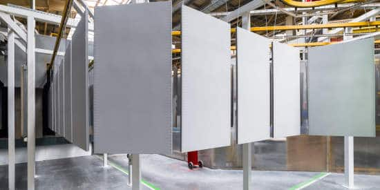 Aluminum sheet on powder coating line