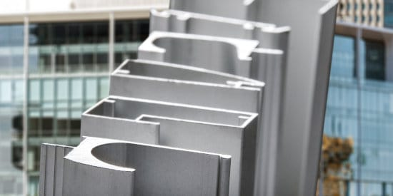 Various architectural aluminum profiles