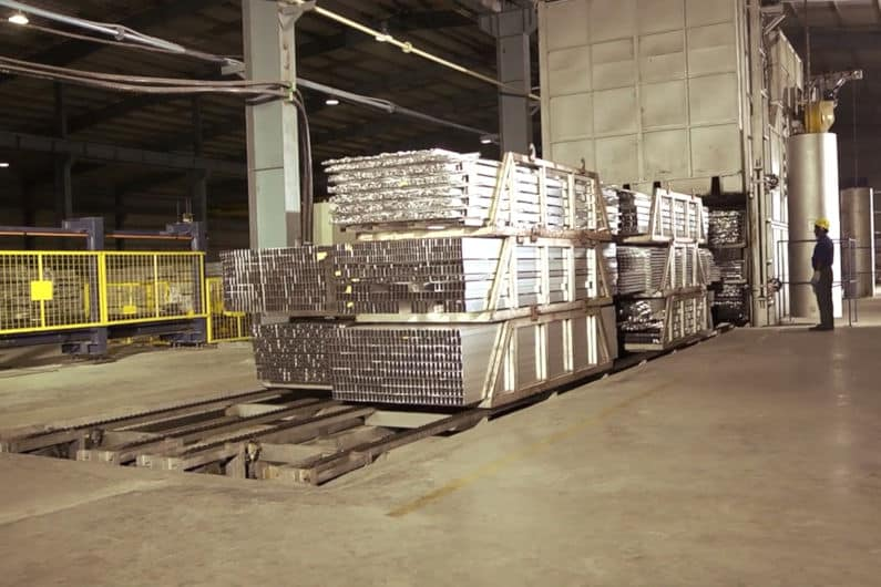 Aluminum Temper: Extrusions going into an aging oven