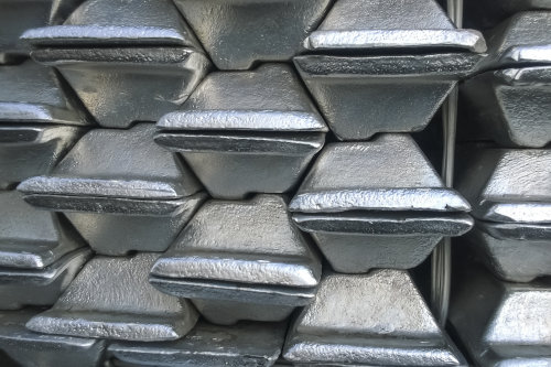 Aluminum ingots stacked for transportation