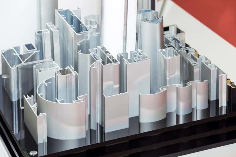 Various Anodized Aluminum Profiles on Display