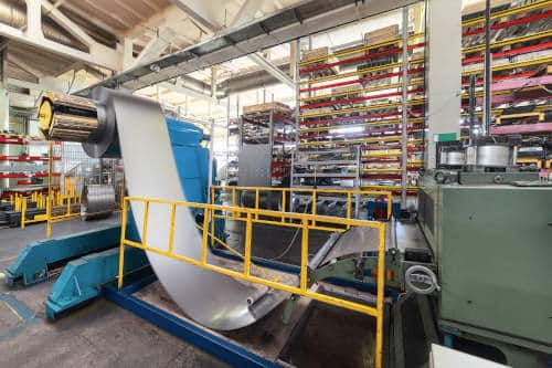 Aluminum coil on a rolling mill