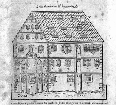 Alchemical house from Libavius, D.O.M.A. Alchymia 1606
